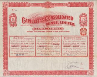 Argentina Capillitas Mines Ltd Stock Certificate 1909 5sh photo
