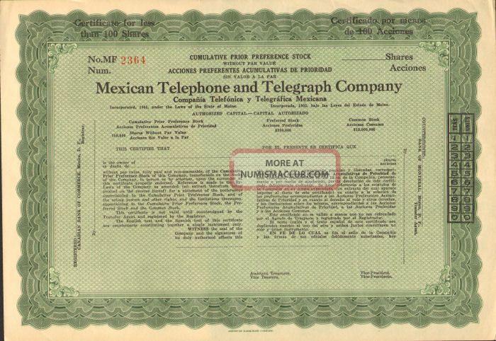 Mexican Telephone And Telegraph Company Stock Certificate Mexico Pref.  Share Stocks & Bonds, Scripophily photo