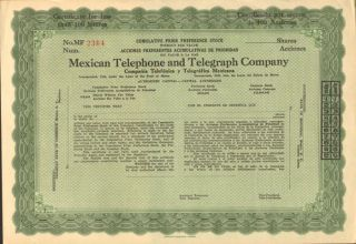 Mexican Telephone And Telegraph Company Stock Certificate Mexico Pref.  Share photo