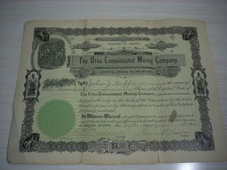 The Ures Conslidated Mining Company Certificate 1904 - The Territory Of Arizona photo