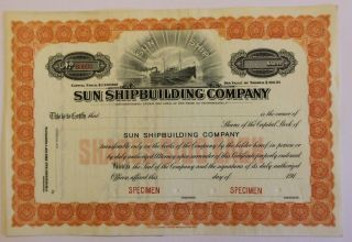 1917 Sun Shipbuilding Company Specimen Stock Certificate Pennsylvania Scarce photo