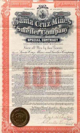 1907 Santa Cruz Mines & Smelter Bond Certificate photo