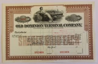 1909 Old Dominion Terminal Company Specimen Stock Certificate Norfolk,  Virginia photo