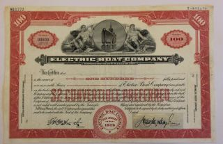 1925 Electric Boat Co.  Stock Certificate Submarines Warship Vignette Rare Type 1 photo