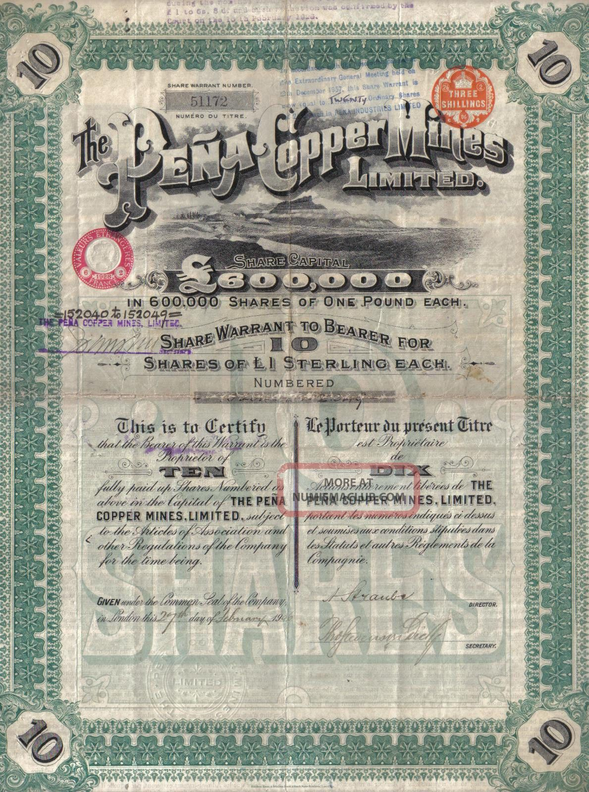 Spain Uk Gb 1906 The Pena Copper Mines Co 10 Shares £10 Uncancelled Coupons Deco World photo