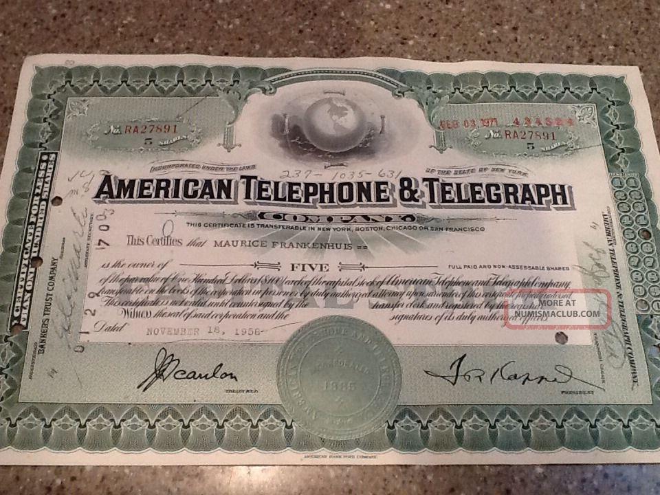 American Telephone & Telegraph Company Stock Certificate At&t Globe Stocks & Bonds, Scripophily photo