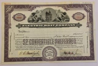 1925 Electric Boat Co.  Stock Certificate Submarines General Dynamics Rare Type 2 photo