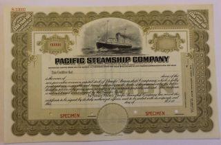 1920 Pacific Steamship Company Specimen Stock Certificate Maine Admiral Line photo