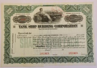 1910 Tank Ship Building Company Specimen Stock Certificate Newburgh,  York photo