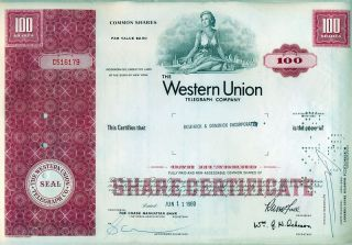 Western Union Telegraph Company Stock Certificate photo