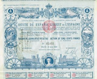 Spain Railways Of Western Spain Stock Certificate 1888 With Coupons photo