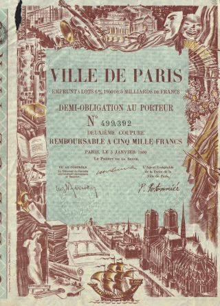 France City Of Paris Loan Of 1950 Stock Certificate photo