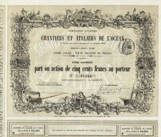 France Buildings & Workshops Of L ' Ocean Stock Certificate 1863 With Coupons photo
