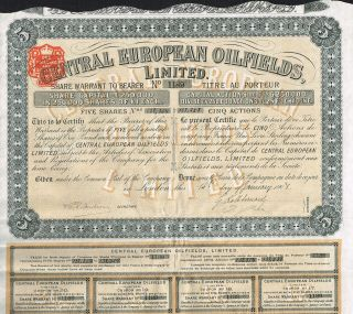 England Central European Oilfields Stock Certificate With Coupons 1908 photo