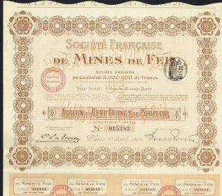 France Iron Mines Stock Certificate 1909 With Coupons photo
