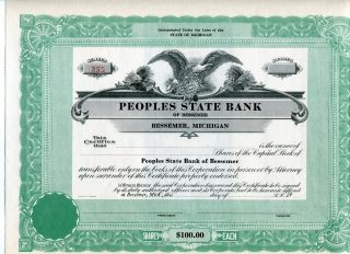 Bessemer,  Mi,  Peoples State Bank,  Unissued Certificate,  1920s photo