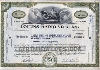 Collins Radio Company Stock Certificate Rockwell Cedar Rapids Iowa photo