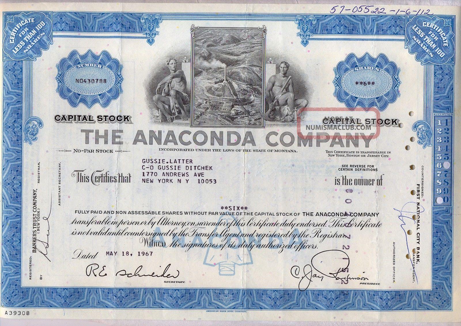 Anaconda Copper Mining Company Stock Certificate Stocks & Bonds, Scripophily photo
