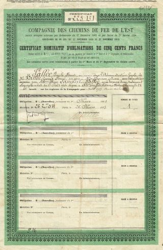 France Eastern Railways Bond 3% 1923 Stock Certificate photo
