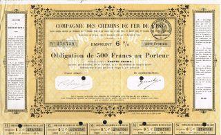 France Eastern Railways Bond 6% 1920 Stock Certificate photo