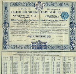 Portugal Royal Company Of Portugal Railways Stock Certificate 1895 photo
