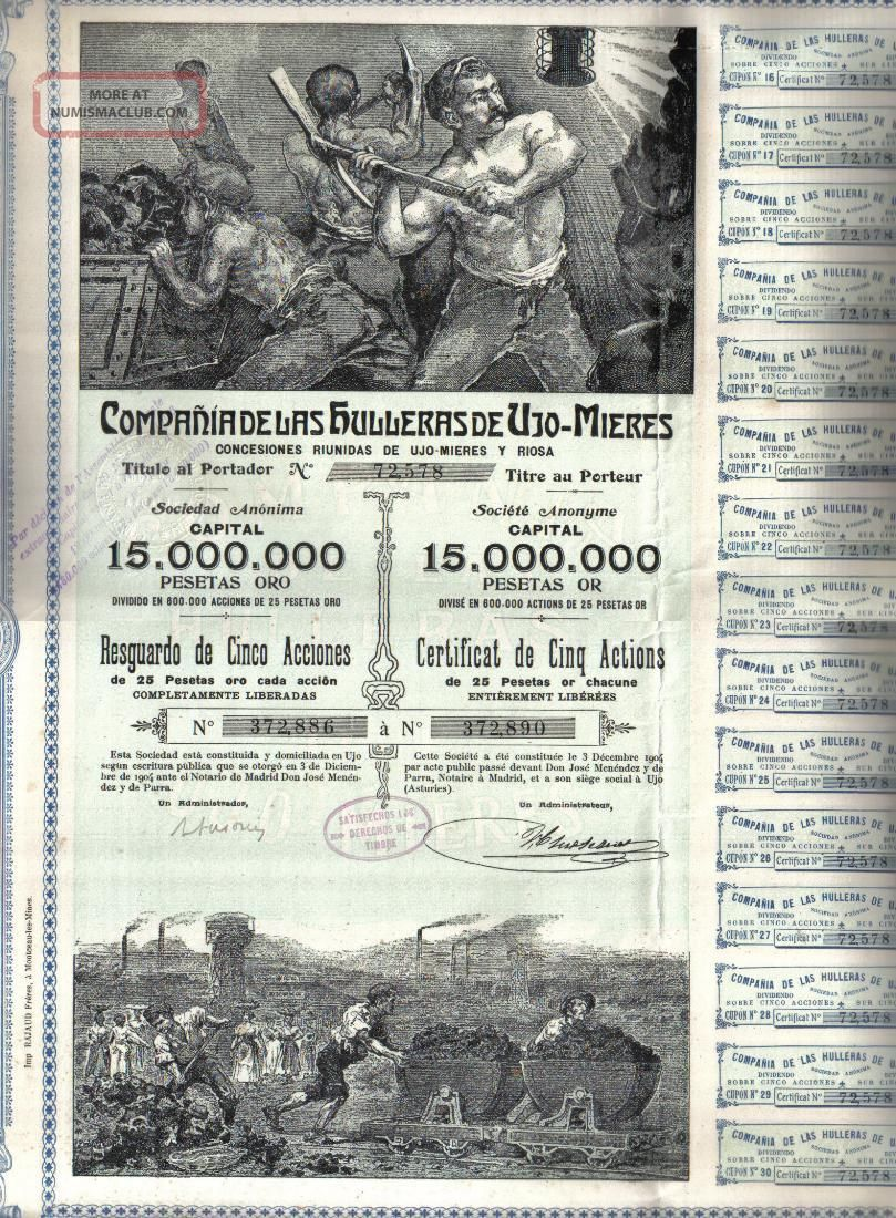 Spain Gold Bond 1904 Coal Mining Hulleras Ujo Mieres 125 P Uncancelled 5 Shares World photo
