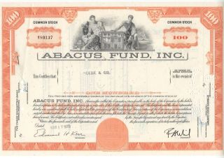 1970 Abacus Fund,  Inc.  100 Shares Stock Certificate - Franklin photo