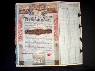France French 1912 Produits Chimiques Engrais D ' Auby 500 Francs Bond photo