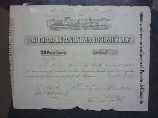 Harbor Rosario Argentina Old Bond 20 Pesos Fuertes 1857 photo