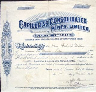 Uk 1910 Capillitas Consolidated Mines One Pounds Bond Share Loan photo