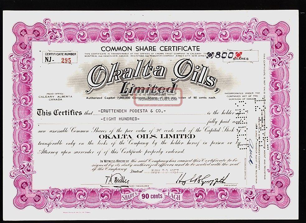 Oil : Okalta Oils Calgary Alberta Canada Old Stock Certificate Dd 1950s Stocks & Bonds, Scripophily photo