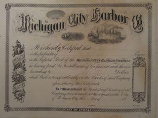 Antique 1870s Victorian Old Rare Michigan City In Harbor Stock Certificate Ship photo