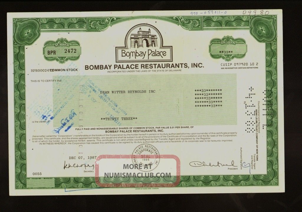 Bombay Palace Restaurants Inc - Restaurant Chain - Old Stock Certificate 1987 Stocks & Bonds, Scripophily photo