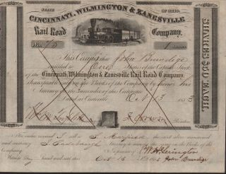 Usa Cincinnati Wilmington & Zanesville Railroad Company Stock Certificate 1853 photo