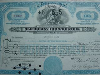 Alleghany Corporation Issued To Groucho Marx Rare Certificate photo