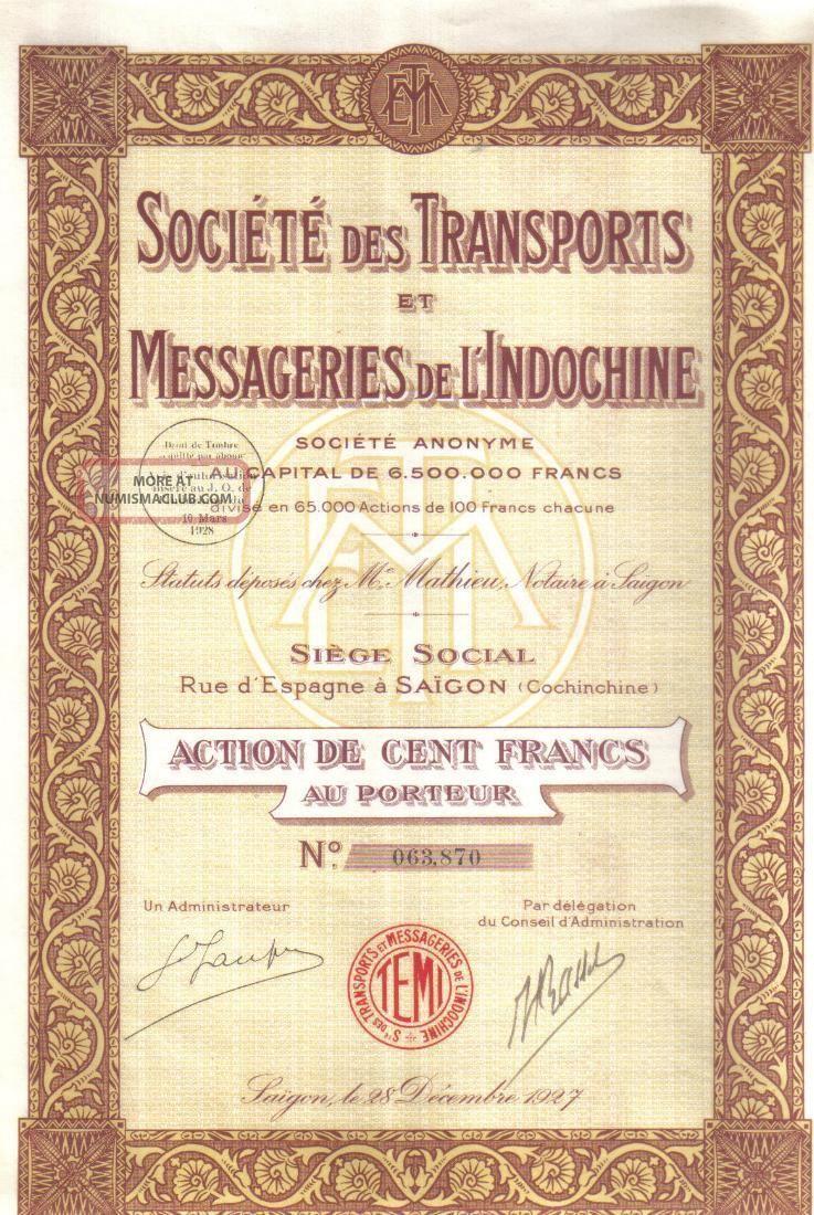 Indochina Bond 1927 Transport Courier Co Saigon 100 Francs Coupons Uncancelled World photo