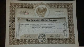 Rico Argentine Mining Company 1971 Stock Certificate photo