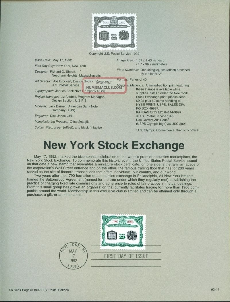 1992 Souvenir Page - 2630 - Ny Stock Exchange Stocks & Bonds, Scripophily photo