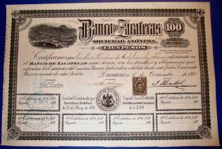 Mexico 1891 Banco De Zacatecas $100 photo