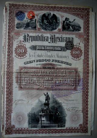 Mexico 1885 Republica Mexicana Deuda Consolidada $100 3% Bond With Coupons photo