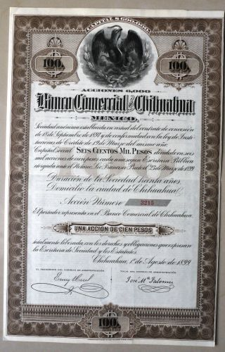 Mexico Banco Comercial De Chihuahua 1899 Not Cancelled Only 6,  000 Issued photo