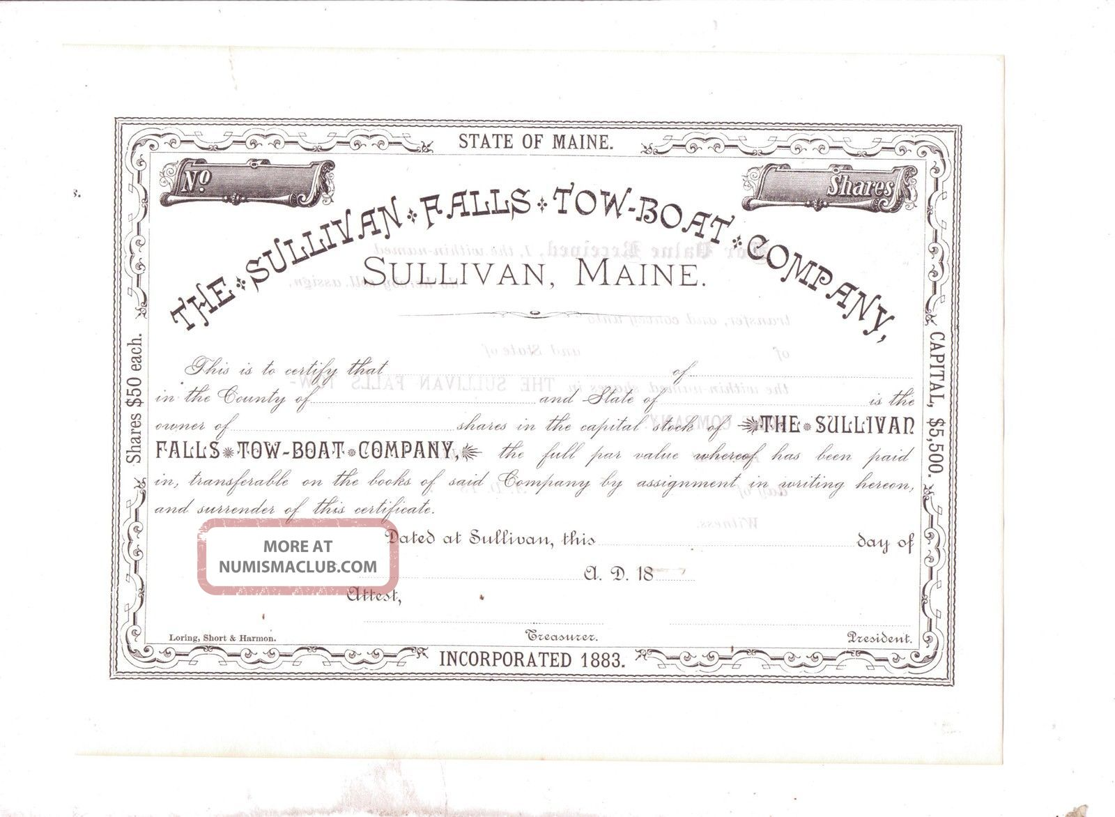The Sullivan Falls Tow Boat Company, Sullivan, Maine, Unc