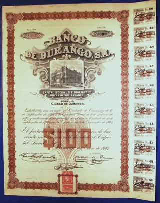 Banco De Durango 1907 Share With Coupons photo