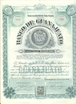 Banco De Guanajuato 1906 Share With Coupons photo