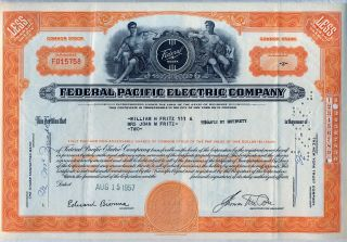 Federal Pacific Electric Company Stock Certificate Noark photo