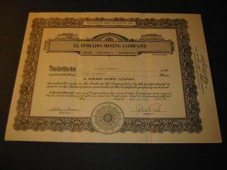 1954 El Dorado Mining Co.  Stock Certificate - Utah photo