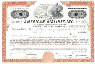 1974 American Airlines $5,  000 Debenture Certificate - Stock,  Bond,  Airplane photo