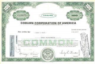1970 Coburn Corporation Of America Common Stock Certificate photo