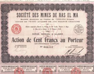 Africa Algeria 1929 Mercury Mines De Ras El Ma Co 100 Francs Uncancelled Coupons photo