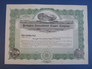 Old Yerington Consolidated Copper Co.  Mining Stock Certificate Utah - Unissued photo